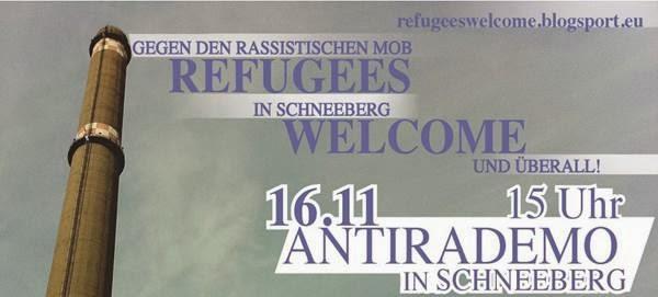 Bild um Aufruf zur Gegendemo am 16.11. in Schneeberg