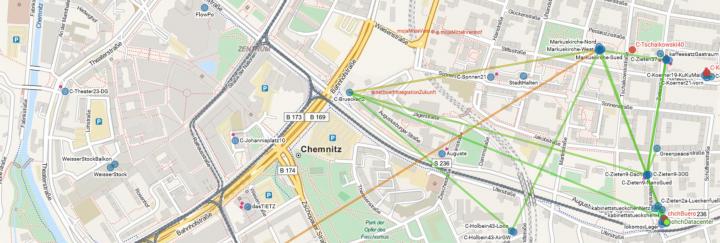 Karte von Mapquest / Knotenkarte der Freifunker